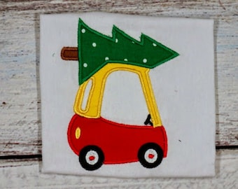 Car Cozy Coupe Christmas Tree Riding Toy Applique Embroidery Design File for Embroidery Machine Instant Download Cute Boy Girl