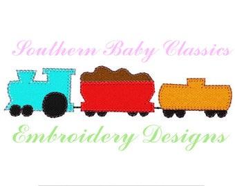 Train Blanket Stitch Applique Design File for Embroidery Machine Instant Download Trains Boy Vintage