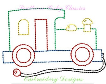 Wooden Pull Toy Train Vintage Quick Stitch Bean Nautical Boy Design File for Embroidery Machine Instant Download