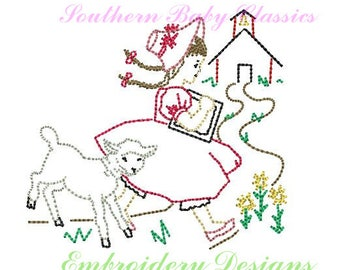 Mary Had A Little Lamb Girl Vintage Quick Stitch Design File For Embroidery Machine Instant Download Hand Stitched Look Nursery Rhyme