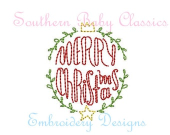 Merry Christmas Word Art Embroidery Design Vintage Quick Stitch File for Embroidery Machine Instant Download