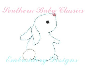 Vintage Bunny Rabbit Mini  Easter Bunny Rabbit Digital Design File Embroidery Machine Bean Hand Stitched Look