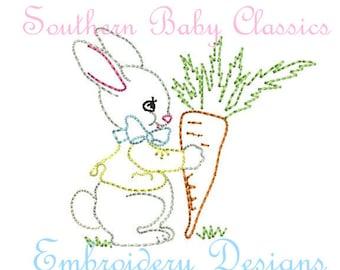 Vintage Easter Bunny Rabbit Digital Design File Embroidery Machine Bean