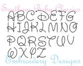 1 Inch Vintage Bean Stitch Walt Font Design File for Embroidery Machine Instant Download Quick Hand Stitched Look