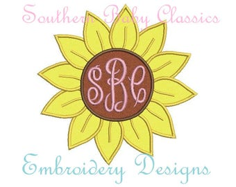 Sunflower Flower Satin Applique Monogram Frame Design File for Embroidery Machine  Instant Download Summer Fall Girl