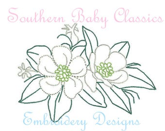 Magnolia Southern Flower Floral  Vintage Stitch Design File for Embroidery Machine  Instant Download
