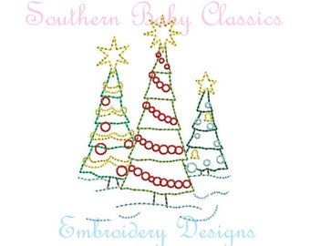 Christmas Tree Trio Three Trees Vintage Stitch Line Work Design File for Embroidery Machine Instant Download