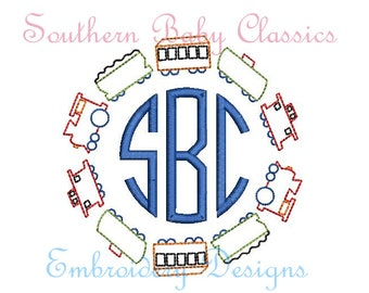 Train Circle Monogram Frame Classic Vintage Stitch Design File for Embroidery Machine Instant Download Boy Cute Baby