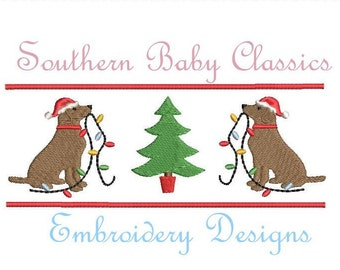 ee2e55abe53ab Santa Hat Christmas Lights Labrador Lab Dog Duo Decorating Tree Mini Fill  Design File for Embroidery Machine Instant Download Faux Argyle