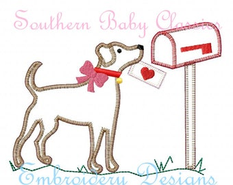 Valentine's Day Love Letter Mailbox Girl Labrador Lab Dog Vintage Blanket Stitch Applique Design File Embroidery Instant Download  Valentine