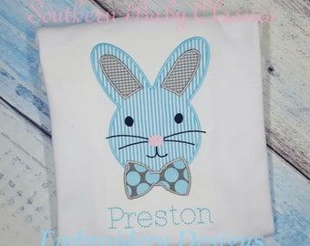 Bunny Head Rabbit Bow Tie Easter Satin Stitch Applique Design File for Embroidery Machine Instant Download Easter Basket Candy Chocolate