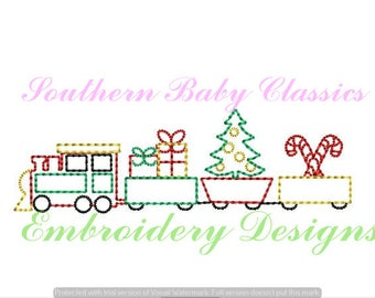 Train Christmas Tree Presents Candy Cane Design Vintage Quick Stitch File for Embroidery Machine Instant Download Boy Heirloom Toy
