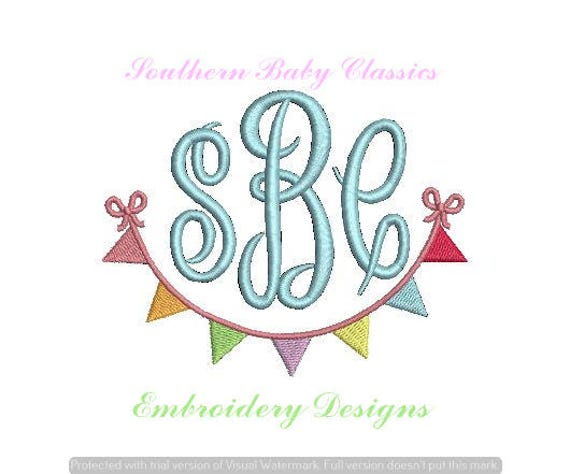 Pennant Flag Swag Bow Frame Design File for Embroidery Machine   Etsy