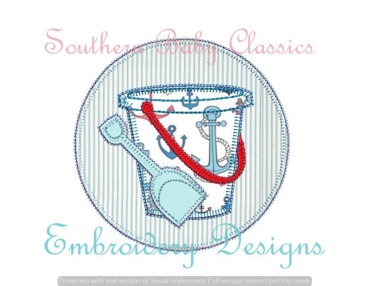 Sand Pail Bucket Shovel Circle Frame Blanket Stich Design   Etsy