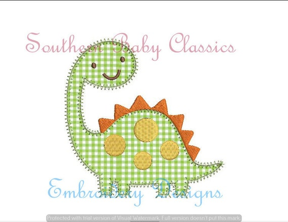 Applique Dinosaur Digital Applique Design File Embroidery Etsy