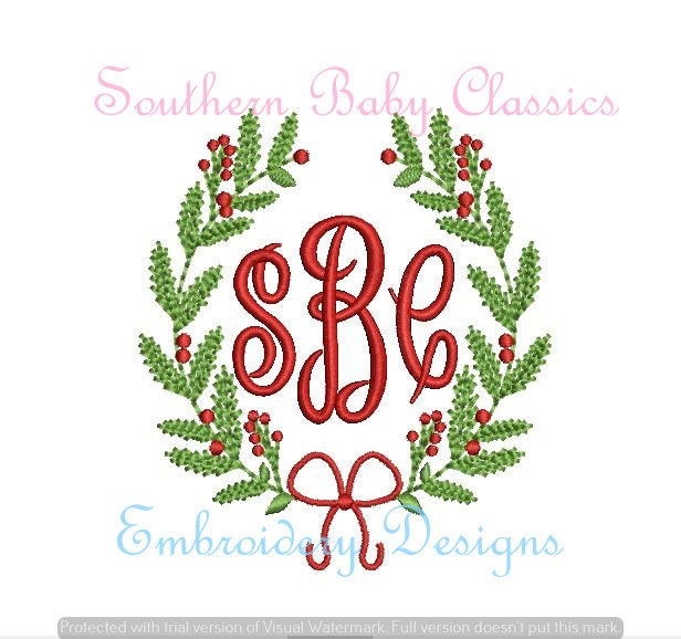 Christmas Holly Bow Monogram Frame Mistletoe Swag Vintage Etsy