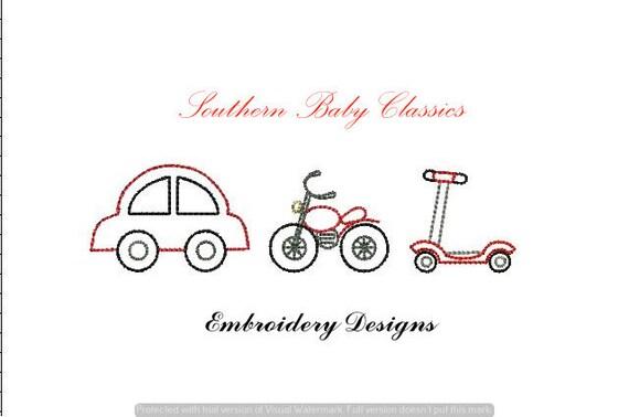 Plik Stitch Szybkie Vintage Chłopiec Wiersz Samochodu Skuter Motocykl Projekt Haft Maszyny Instant Download Chłopiec Scheda Zabawka