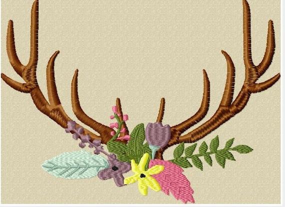 Flower Floral Swag Antler Monogram Floral Frame Design File   Etsy