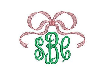 Vintage Bow Ribbon Swag Faux Shadow Heritage Add On Topper Frame Design File for Embroidery Machine Monogram Instant Download