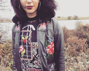 Hand Painted Florals Vintage Leather Jacket with Faux Fur Collar