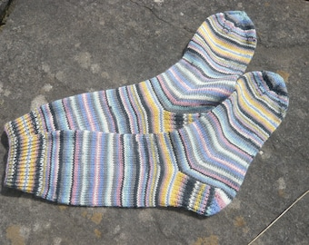 Hand knitted stripy socks