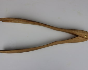 Serving Tongs with One Spoon, One Fork in Curly Maple