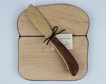 Crusty Toast Board and Laminated Knife Set in Curly Maple