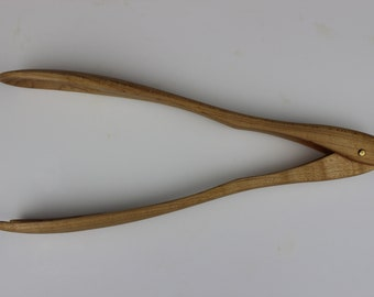 Serving Tongs with One Spoon, One Fork in Maple