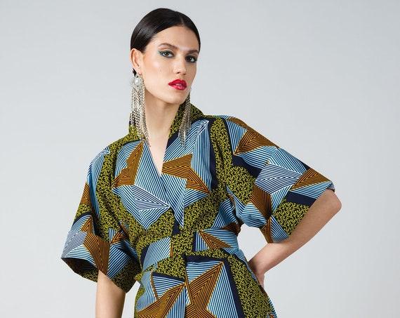 Khalilah Kimono- ankara print african print dutch wax cotton kimono robe