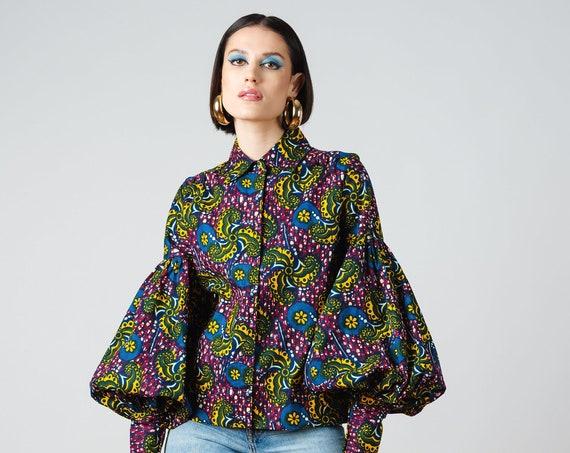 Gibson Top- ankara print african print dutch wax cotton shirt