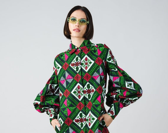 Tania Tunic Dress- ankara print african print dutch wax cotton shirt dress
