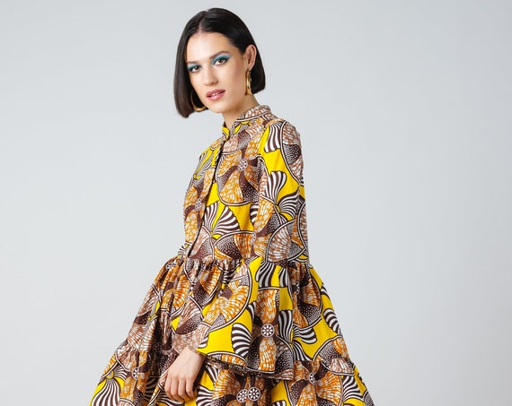 Morgan Dress- ankara print african print dutch wax cotton shirt dress