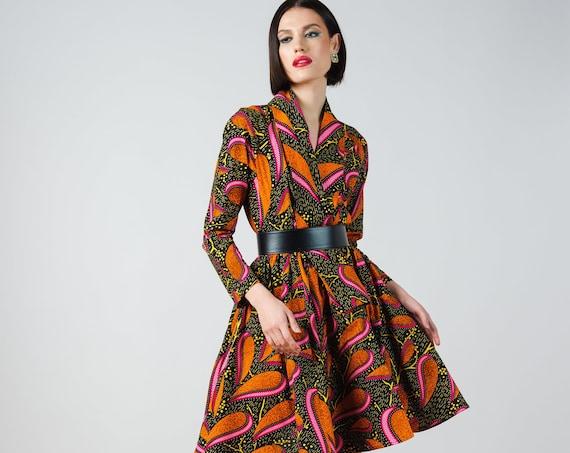 Gugu Dress- ankara print african print dutch wax cotton shirt dress
