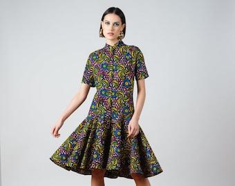 Yvonne Dress- ankara print african print dutch wax cotton shirt dress
