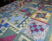 Queen Size Patchwork Quilt, Floral Pink Blue Sampler, Handmade Bed Cover, Scrappy Homemade Traditional Blanket, cottage cabin quilted throw