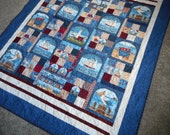 Nautical Throw Quilt, Patriotic lap blanket, Americana Quilted, Debbie Mumm tall ships, red white blue cotton, Schooner seagull seashore