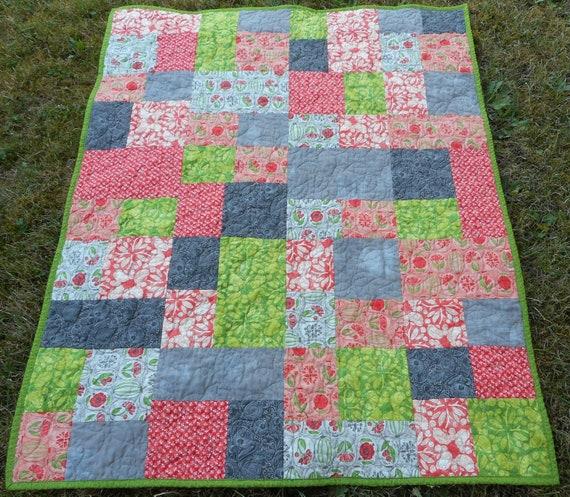 Toddler quilt Sofa Throw quilt Lap Quilt Vintage Modern Quilt Handmade Patchwork navy and red orange Retro Quilt