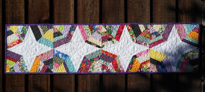 dining buffet Multicolor Rainbow Quilted Fabric Runner Spider web block scrappy multi color cloth centerpiece Table Topper Quilt Bright