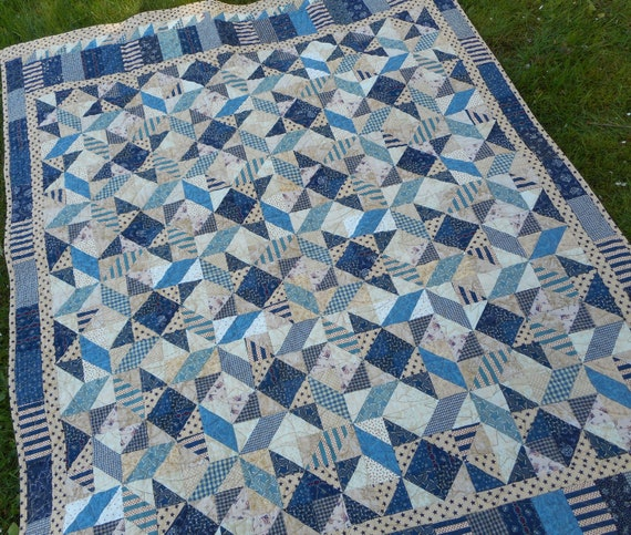 Blue Wheelchair Quilt Blue Lap Quilt Blue Yellow Lap Quilt Shabby Cottage Chic Quilted Table Topper Blue Quilted Table Topper