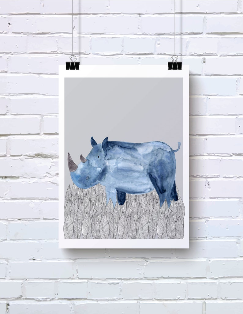 Aquarelle de rhinocéros bleu imprimé | Etsy