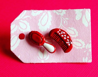 Painted Red Hot Comb & Mirror Earrings