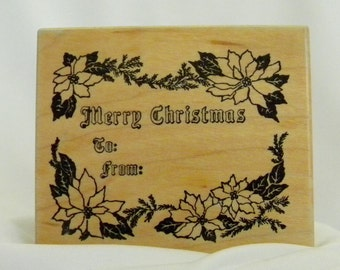 Noel Seasons Greetings Coveted  Retired Personal Stamp Exchange Holiday Rubber Stamp K 1624 from 1999 Made is USA FREE US Shipping