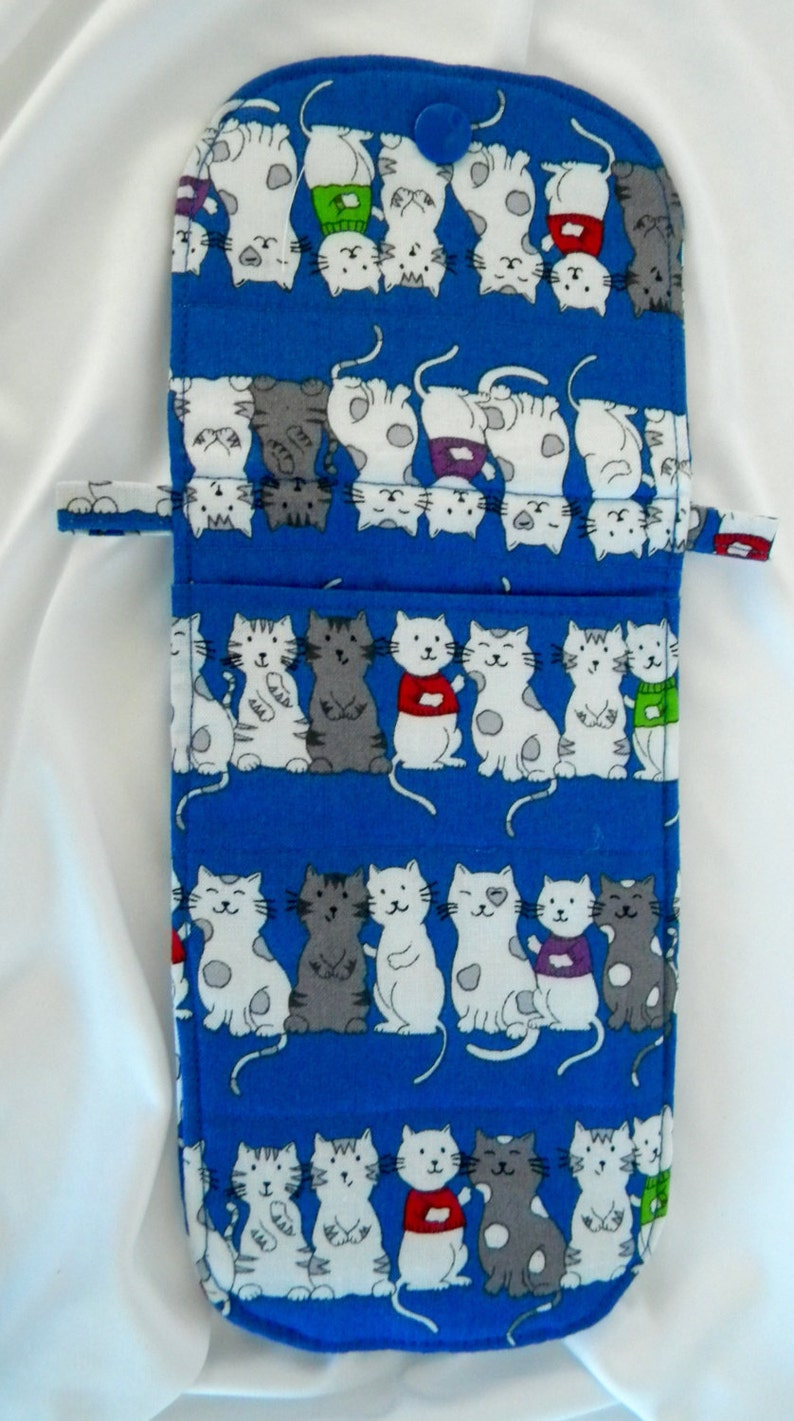 Hand Made Kitties All In A Row Blue Padded Smart Phone Tote Over the Shoulder Bag 50 Inch Strap 2 Pockets Small Items Tote FREE US SHIPPING