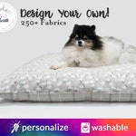 Personalized Dog Bed Pillow Cover | Your Choice of fabrics | Zipper Closure, Washable
