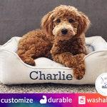 Farmhouse Bolster Dog Bed | Red Stripe, Blue Stripe, Tan Stripe or White Stripe - Reproduction Grain Sack Fabric