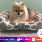 Personalized Dog Bed | Pink Dog Beds, Light Pink, Gray, Girly Pet Bed, Polka Dot, Bumper Bed, Pomeranian, Small dog bed | Washable dog bed