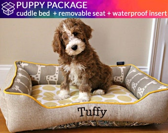 Puppy Dog Bed with Waterproof Insert Covers and Removable Seat | Personalize with Name Embroidery | Easy to Clean | Design Your Own!