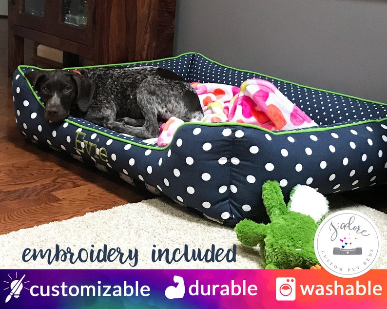 Designer Dog Bed  Navy Blue and Green Chartreuse Mini Dot image 0
