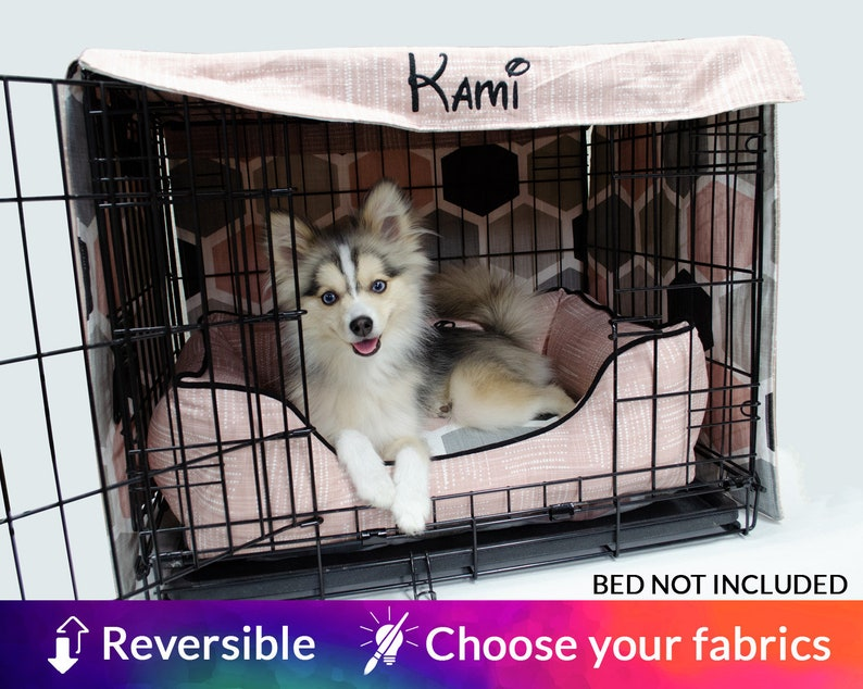 Personalised Dog Crate Cover  Choose 2 fabrics and embroidery image 0