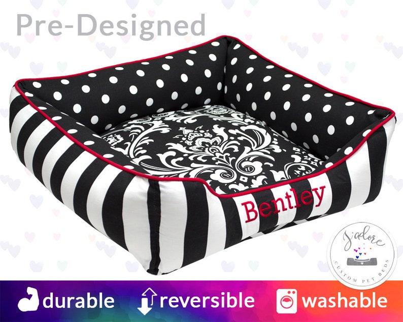 Personalised Dog Bed  Black White Red Damask Polka Dot image 0